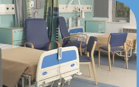 a hospital bed in a generic ward