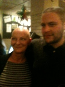 Jamie with his mum after shaving his head